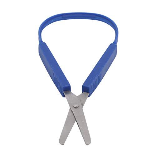 ZYYXB Schlaufenschere für Kinder Easy Grip Easy Opening Angepasste Schere für besondere Bedürfnisse Sicherheit runde Spitze Offene Quetschgriffe,Blau