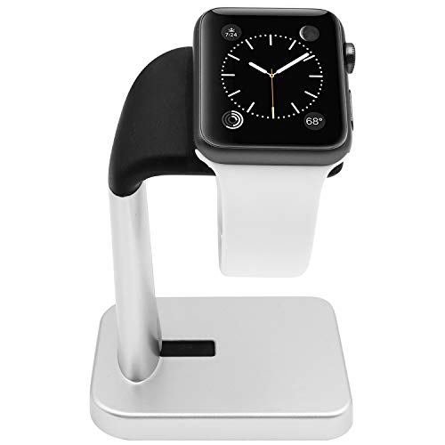 Macally Apple Watch Stand Holder - The Perfect Nightstand iWatch Charging Dock Station - Compatible with Smartwatch Series 5, Series 4, Series 3, Series 2, Series 1 (44mm, 42mm, 40mm, 38mm) (Silver)