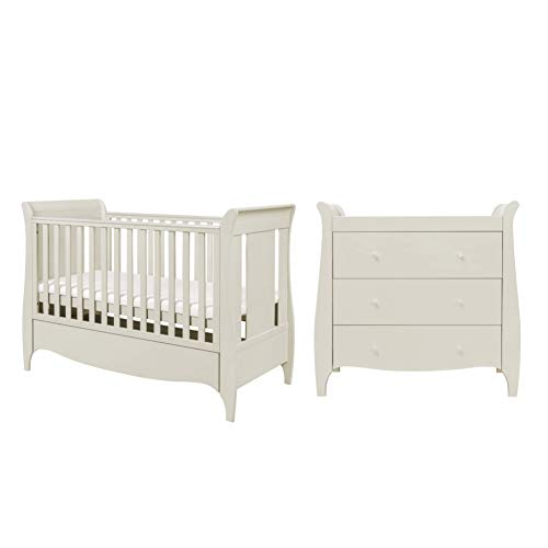 Tutti Bambini Roma Nursery Furniture Set | Baby Cot Bed and Sleigh Design Chest of Drawers | Solid Wood Furniture (Linen) Two Piece