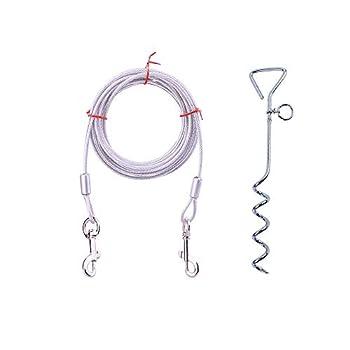 GFEU Câble d'attache pour chien et piquet en spirale avec anneau anti-enroulement pour chien de petite et moyenne taille (3 mètres, argent)