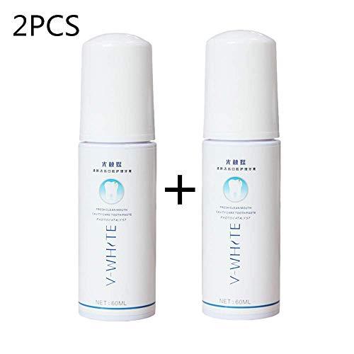 V-white Zahnpasta Schaum 2 * 60ml Flüssige Zahnpasta Gründliche Reinigung Zahnaufhellung (60ML*2)