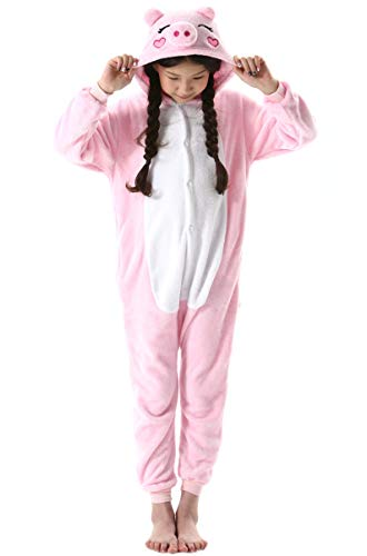 Pijama Animal Entero Unisex para Niños con Capucha Cosplay Pyjamas Ropa de Dormir Traje de Disfraz para Festival de Carnaval Halloween Navidad Rosa Cerdo para Altura 90-148cm