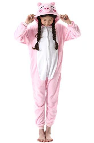 Jumpsuit Onesie Tier Fasching Karneval Halloween Kostüm Kinder Mädchen Junge Sleepsuit Overall Pyjama Unisex Lounge Cosplay Schlafanzug Rosa Schwein for Höhe 90-148CM