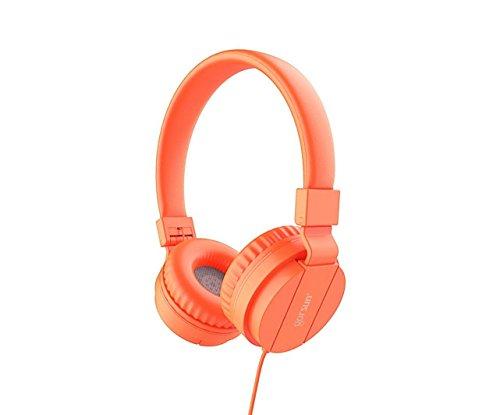 Headphones for School Kids, On-Ear Comfortable Foldable Kid Earphones for Classroom Students, Lightweight Corded Headset for Boys & Girls, Children, Computers, Tablets, Cellphones (Orange)