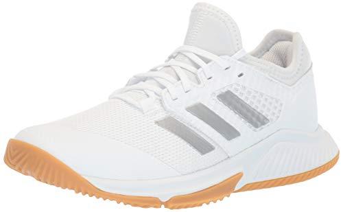 adidas womens Court Team Bounce Cross Trainer, Ftwr White/Silver Met Ftwr White, 6.5 US