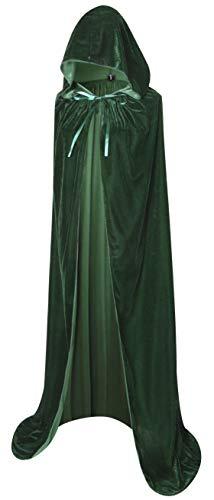 """BIGXIAN Full Length Hooded Velvet Cloak Halloween Christmas Fancy Cape Costumes 59"""" (Dark Green)"""
