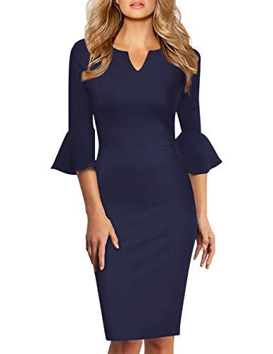 KOJOOIN Damen Etuikleid Business Kleider Bodycon Cocktailkleid Bleistiftkleid Geschäft Figurbetonte Knielang Kleider Langram Dunkeblau XXL