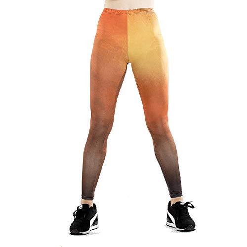 DSCX Leggings Femminili Leggings Stampati Pantaloni da Yoga Traspiranti ad Asciugatura Rapida Pantaloni della Tuta Asciugatura Rapida di Grandi Dimensioni Giallo L