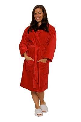 TowelRobes Terry Velour Hooded 100% Cotton Absorbent Robe Women's Men's Bathrobe