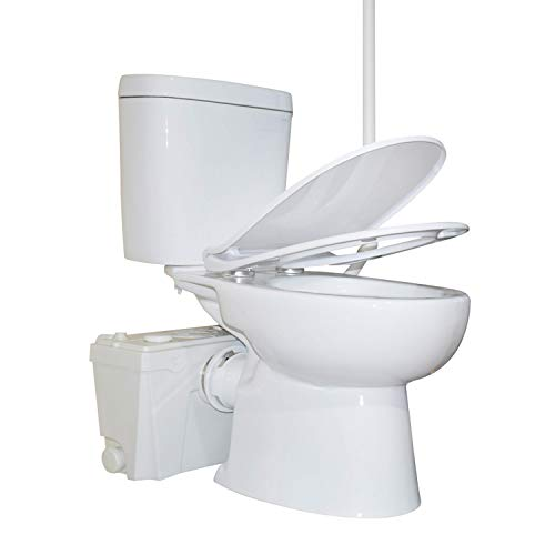 Sanimove 600W Macerator Pump Toilet Three Piece Round Bowl Toilet with Macerating Pump Macerating Upflush Toilet Kit Macerating Toilet