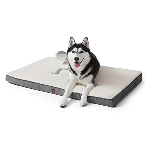 EHEYCIGA Hundebett Hundekissen 88x58x7cm flauschig orthopädisch waschbar Grosse, mittelgroße, kleine Hunde Dog Bed Dicke Füllung Memoryschaum eierförmig waschbar kuschelige Hundematte Hundematratze