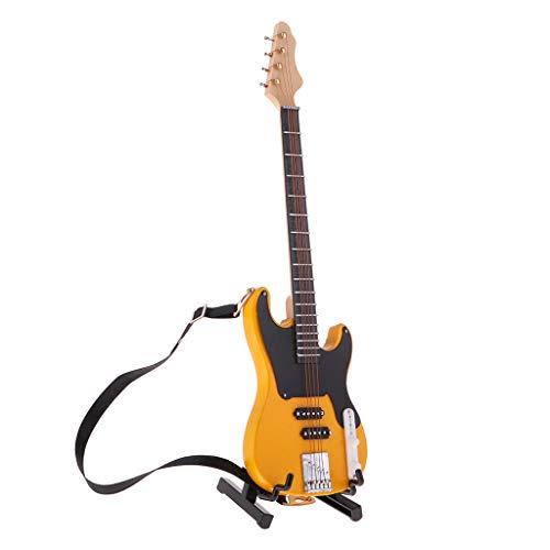 F Fityle Mini Bajo Eléctrico Bass de Madera con Soporte de 20cm Adornos de Muñecas Escala 1/6 - Amarillo