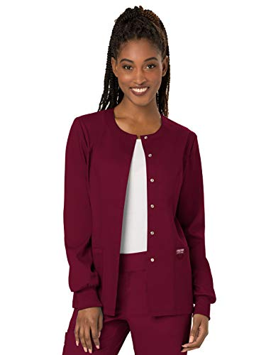 Cherokee Women's Snap Front Warm-up Jacket, Wine, Small