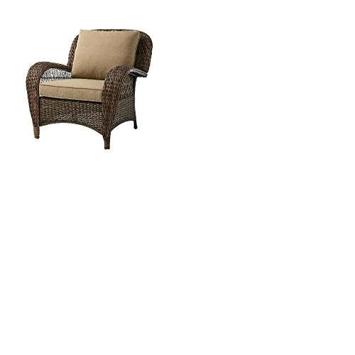 Hampton Bay Beacon Park Stationary Wicker Outdoor Lounge Chair (1, Brown)