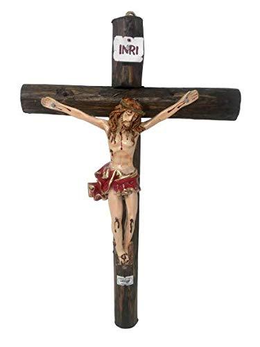 miSantuario Jesus en La Cruz Crucifijo De Tronco Madera Rustico 15' Lx 10' W, Wall Wooden Crucifix, New