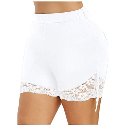 Find Bargain Toimothcn Women Plus Size Basic Slip Bike Shorts Workout Leggings Yoga Shorts Pants(Whi...