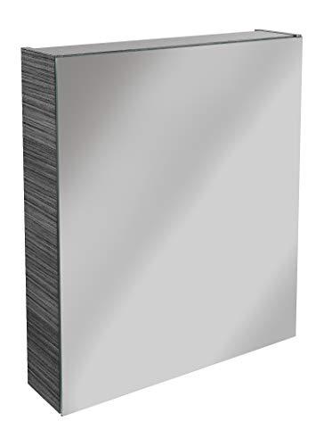 Lanzet Spiegelschrank L0 / Badschrank mit Spiegel/Maße (B x H x T): ca. 60 x 68 x 14,5 cm/Möbel fürs Badezimmer oder WC/hochwertiger Schrank mit 1 Tür/Türanschlag rechts/Korpus: Schwarz