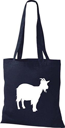 Stoffbeutel Tiermotive Zoo Natur Ziege Ziegenbock Bergziege goat Baumwolltasche, Beutel, Umhängetasche, Farbe navy
