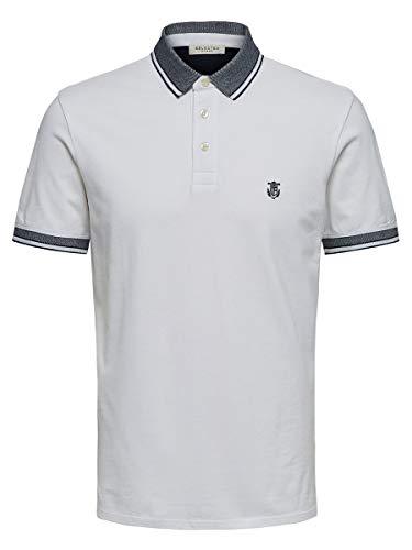SELECTED HOMME 16065598 Camiseta, Color Blanco (Blanco Brillante), L para Hombre