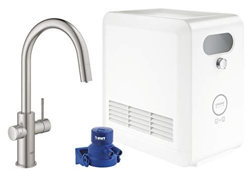 GROHE Blue Professional | C-Auslauf Kit | mit Bluetooth und WiFi, supersteel, herausziehbarer Mousseurauslauf | 31325DC2