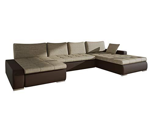 Großes Design Ecksofa Caro, Elegante U-Form Couch, Eckcouch mit Bettkasten und Schlaffunktion, Couchgarnitur, Schlafsofa, Farbauswahl, Bettsofa für Wohnzimmer, Wohnlandschaft (Soft 066 + Lawa 02)