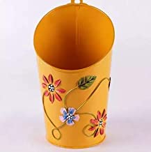 Gadgets Appliances Half Moon Shaped Wall Planter Powder Coated, Rust and Leak Proof - Vertical Planter (Yellow)