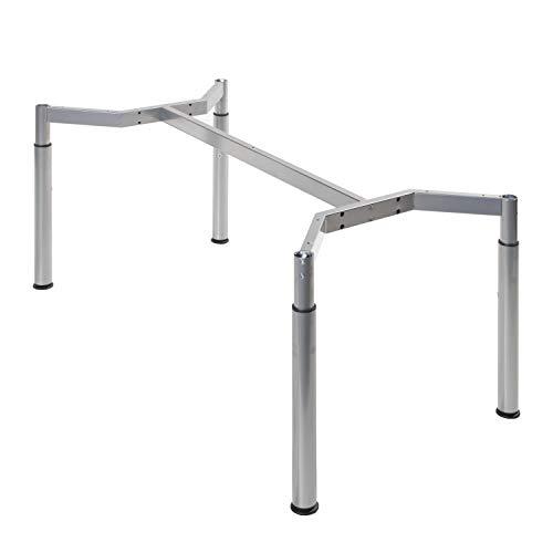 boho möbelwerkstatt Schreibtischgestell, Konferenztischgestell, Tischgestell, höheneinstellbar in Silber RAL9006 für Tischplatten von 180 x 80 cm