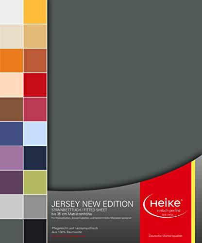 Heike Spannbettlaken Jersey New Edition 100% Mako-Baumwolle Deutsche Markenqualität 160 gr/m2 bis 35 cm Höhefür Wasserbetten Boxspringbetten und herkömmliche Matratzen (Anthrazit)
