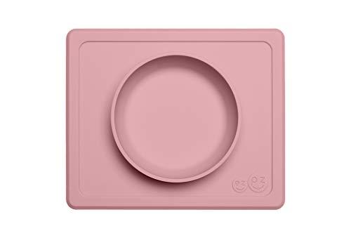 EZPZ Mini Bowl 12 meses +. Bol 100% de silicona con mantel individual incorporado para bebés y niños pequeños. Rosa pálido