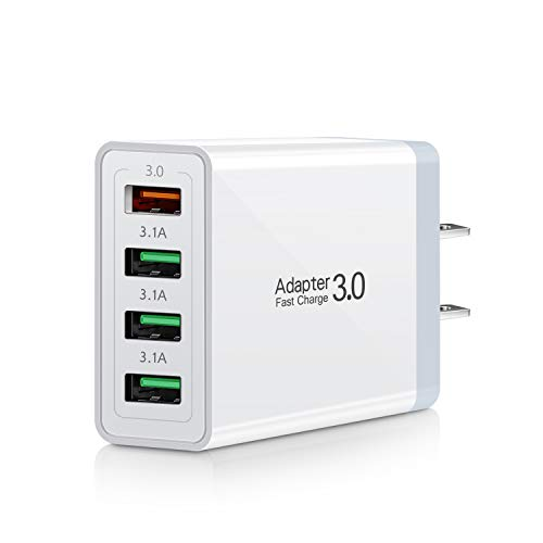 Fast Charge 3.0, Portable USB Wall Charger, iSeekerKit 4Ports USB Wall Charger Adapter [3.0+3.1A] Compatible with Wireless Charger, Samsung Galaxy S9 S8/Note 8 9, iPhone, Pad and More