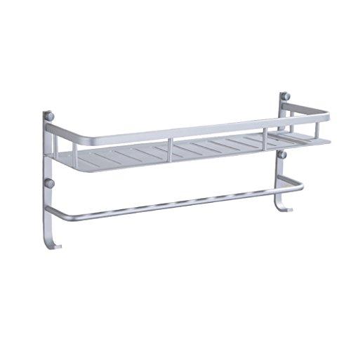 YUJIE Space Aluminium badkamer plank badkamer vierkante mand 1 rek rek met haak en handdoekhouder muur toiletartikelen magazijnrek
