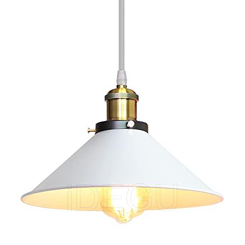 iDEGU Lámpara de techo vintage industrial de metal con casquillo E27, para cocina, café, bar (blanco, 26 cm)