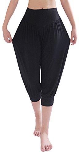 AvaCostume Modal Cotton Soft Yoga Sports Dance Harem Capri Pants, XL, Black