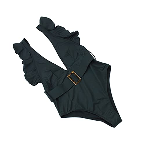 ABOOFAN Mulheres One- Piece Swimsuit Ruffle Piscina Desgaste Biquíni Com Cinto Biquíni Swimwear Fatos de Banho (Preto)