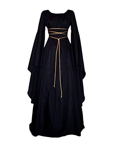 PengGengA Vestito Vestito Cosplay Medievale da Donna Abito Lungo retrò Costume di Halloween Nero S