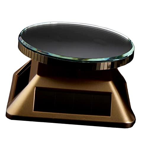 Harilla 360 Rorated Solar Display Stand Halter Plattenspieler Uhr Schaufenster Power durch Solar oder AA Batterie Schmuck Organizer - Gold