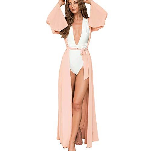 Kordear Kimono Cardigan Donna Lungo - Cardigan di Chiffon Donna, Chiffon Floreale Cardigan Kimono Estivo Copricostume Spiaggia Blusa Top (Rosa-A, XL)