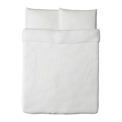 Ikea Dvala Duvet Cover and Pillowcase, White, Full/Queen (Double/Queen)