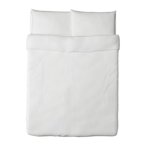 IKEA Dvala Duvet Cover and Pillowcase, White, Full/Queen (Double/Queen)