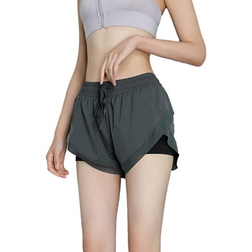 Fainash Pantalones Cortos Deportivos para Mujer Moda Costuras Sueltas Secado rápido Ejercicio físico Ocio Pantalones Cortos de Yoga con cordón L