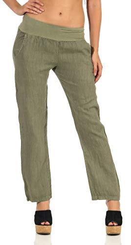 Malito Damen Hose aus Leinen | Stoffhose in Uni Farben | Freizeithose für den Strand | Chino - Jogginghose 7792 (Oliv, M)