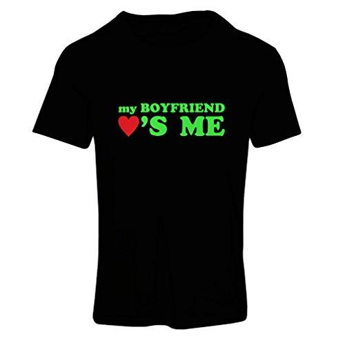 Camiseta Mujer Mi Novio me ama! Novia Regalos para San Valentin (Small Negro Verde)