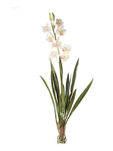 Artplants Set 8 x Orquídea cymbidium Artificial Ayala en Vara de Ajuste, Crema, 90cm - Orquídea Falsa/Flor de simulación