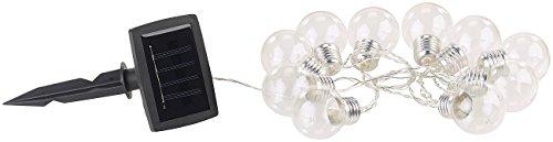 Guirlande lumineuse solaire à LED design ampoule classique - 1,80m [Lunartec]