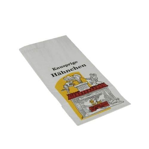 tradingbay24 Hähnchenbeutel, Papier mit HDPE-Einlage 28 cm x 13 cm x 8 cm Max & Moritz 1/1 tbU90147 Hähnchentüten Warmhaltebeutel Ganzes Hähnchen, 1000 Stück