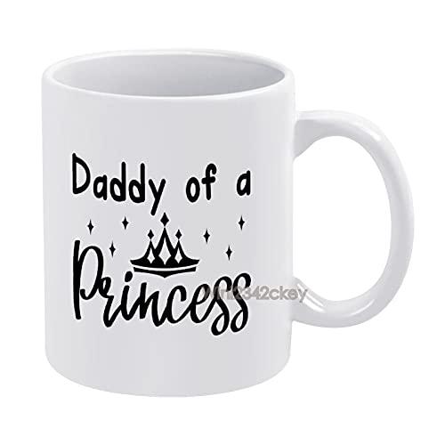 Taza de café con diseño de Papá de una princesa, divertida taza de café blanca de cerámica, 15 onzas, taza de café blanca, tazas de regalo