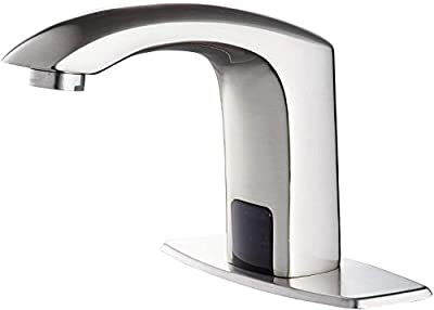 Automatic Sensor Touchless Bathroom Faucet Brushed Nickel Motion Actived Solid Brass Bathroom Sink Faucet with Hole Cover Plate Hands Free Vanity Faucets Deck Mount
