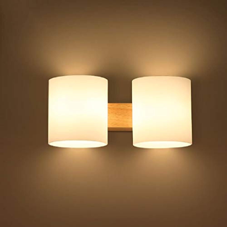 Zhang Ying ZY  Japanische Wandleuchte aus massivem Holz LED Einfache Moderne Nachttischlampe Holzglas Wandleuchte Einzelkopf, Doppelkopf E27