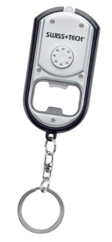 Swiss+Tech ST33340 Silver/Black Trim Multitool LED Flashlight with Keychain, Bottle Opener