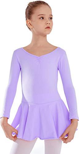 MdnMd Long Sleeve Dance Ballet Skirted Leotard for Toddler Girls Ballerina Dress with Bow Back (Purple, 4-6 Years)